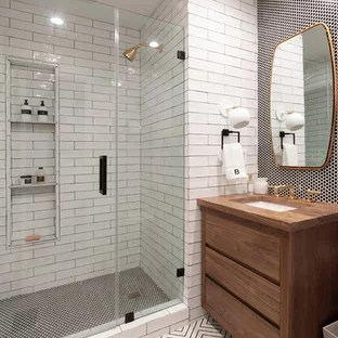 75 Most Popular Farmhouse Black and White Tile Bathroom