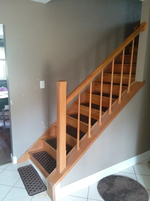 Newel Post Attachment To Top Of Cap   Handrail To Newel Post   Craftsman Style   Indoor Railing   Wood   Gray Stain   White Oak