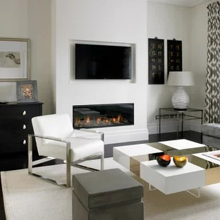 contemporary living room with electric fireplace light grey carpet ideas modern and photos houzz design for a medium sized open plan in london beige walls