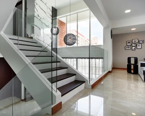 Brown And White Stairs Home Design Ideas Pictures