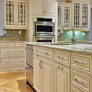 Kitchen Traditional Idea In Atlanta With Raised Panel Cabinets Beige And