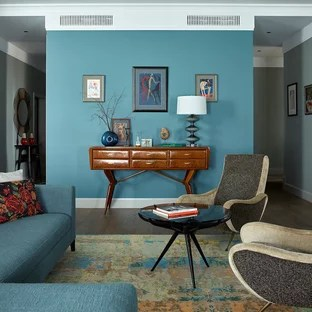 dark turquoise living room walls grey rooms with brown furniture 75 most popular design ideas for 2019 contemporary wood floor idea in moscow blue