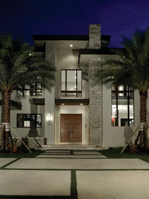 Best Contemporary White Exterior Home Design Ideas & Remodel