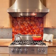 Red Kitchen Appliances White Cabinets Range Backsplash | Houzz