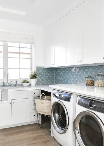 Beach Style Laundry Room by Patterson Custom Homes