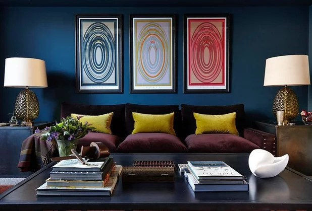blue walls living room curtain panels 10 ways to give a dark the wow factor contemporary by charlotte crosland interiors