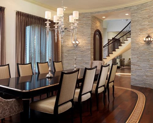 Stone Wall Dining Room Home Design Ideas Pictures