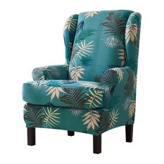 teal chair covers lewis and clark folding 50 most popular slipcovers for 2019 houzz subrtex 2 piece leaf printing wingback slipcover stretchable lake blue