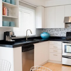 Flat Panel Kitchen Cabinets Lowes Counters Wallpaper Backsplash | Houzz