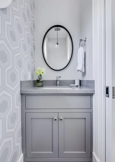 Transitional Powder Room by Lindsay Chambers Design