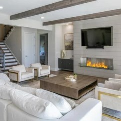 Interior Design Ideas For Living Rooms Modern With Brown Sofas 75 Most Popular Room 2019 Stylish Example Of A Huge Minimalist Open Concept Medium Tone Wood Floor And