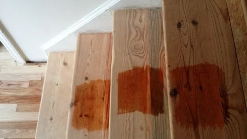 Treatment For Pine Stair Treads | Staining Pine Stair Treads | Painting | White Pine | Wooden | Tile | Stained White Oak