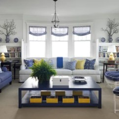 Blue Yellow Grey And White Living Room Images Of Decorated Rooms Ideas Photos Houzz Example A Coastal Carpeted Design In Chicago With Walls