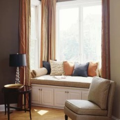 Window Treatment Ideas Modern Living Room Color Schemes Black Leather Couch Bay Houzz Contemporary Medium Tone Wood Floor Idea In Chicago With Brown Walls