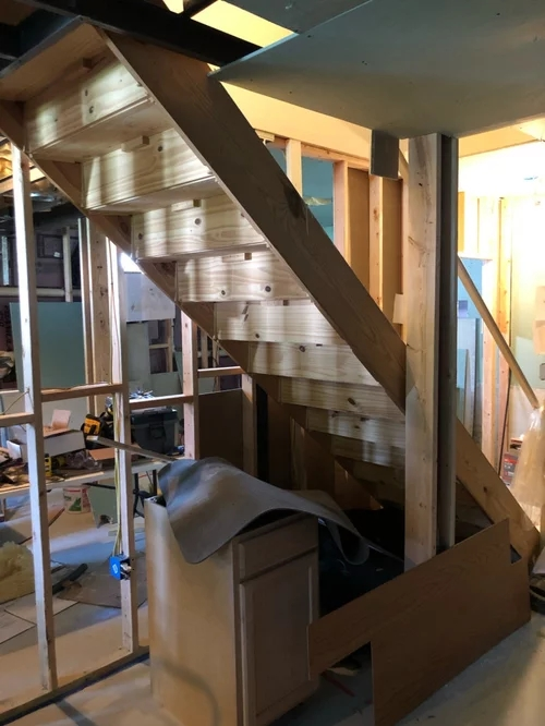 Best Way To Support Frame Basement Staircase | Best Wood For Basement Stairs | Stair Risers | Staircase Remodel | Tile | Modern Stair Railing | Staircase Designs