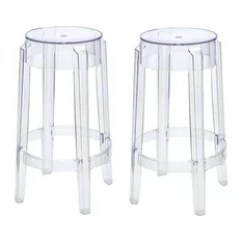 Ghost Chair Bar Stool Office Materials Polycarbonate Stools Counter Houzz Ariel Victoria Style Clear Color Set Of 2