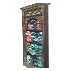 Mogulinterior - Reclaimed Wood Book Shelf Antique Bookcase Indian Hand Carved Furniture - Antique Bookshelf, wooden green Rustic Bookcase Indian Furniture Your Home Decor Idea.... Vastu Veda Decor......Vintage Retro Bookshelf Furniture.......Antique bookcase that was salvaged from the Havelis of Rajasthan with a warm rustic wooden that defines character and age.