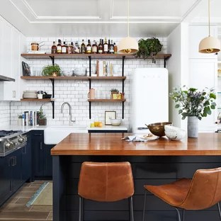Small Contemporary Open Concept Kitchen Inspiration Trendy L Shaped Porcelain Floor And Brown