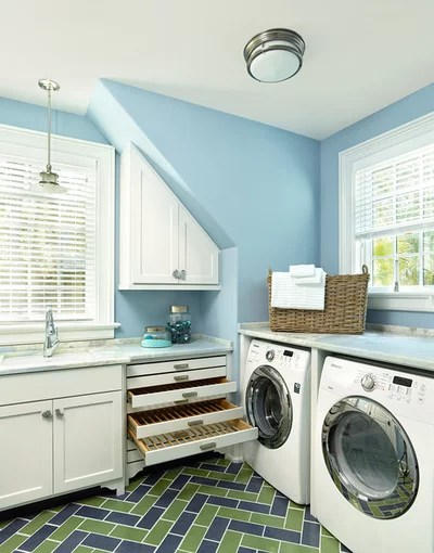 Transitional Laundry Room by Margaret Donaldson Interiors