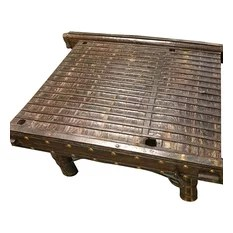 Mogul interior - Consigned Vintage Indian Solid Ox Cart Coffee Table with Brass Iron Accents - Hand Crafted Coffee Table has artistic Iron nails work on two sides giving it a traditional banjara feel!