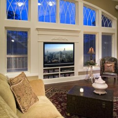 Green Living Room Walls Framed Pictures For Ireland Tv In Front Of Window | Houzz