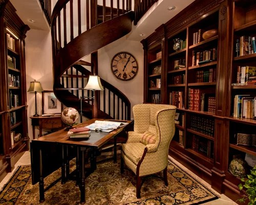 Home Office and Library Design Ideas Renovations  Photos with Porcelain Flooring