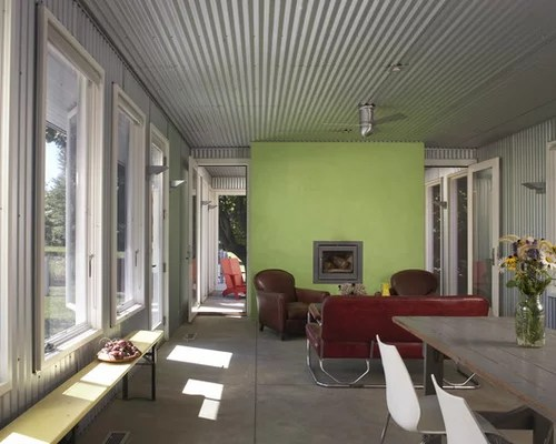 corrugated steel chair rail office quality metal ceiling | houzz