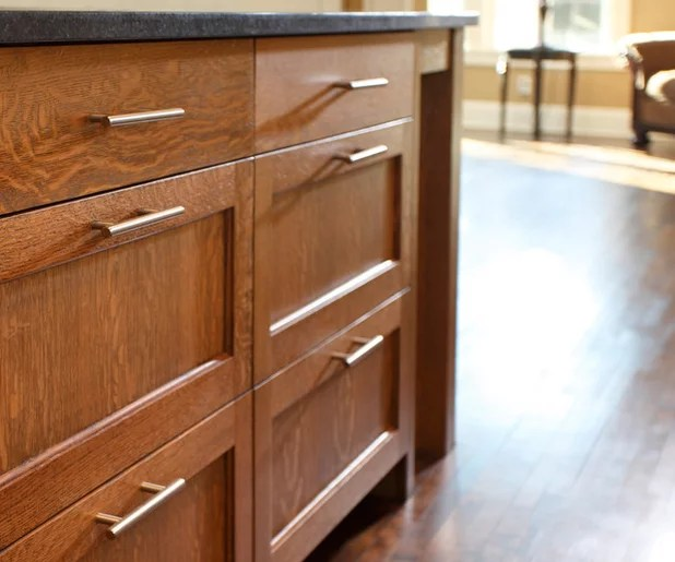 Shaker Cabinet Hardware Placement: Centered on Top Drawer Fronts