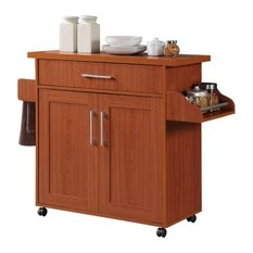 cherry kitchen cart black sink lowes 50 most popular islands and carts for 2019 houzz hodedah import inc microwave