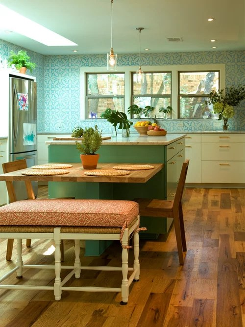 cost of new kitchen trash can dimensions table attached to island | houzz