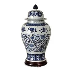 Summer Palace Chinese Hand Painted Blue White Ginger Jar Transitional Decorative Jars And