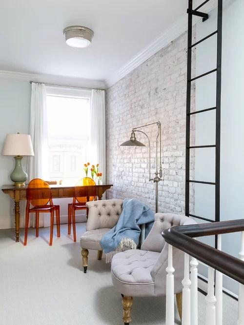 White Brick Wall  Houzz