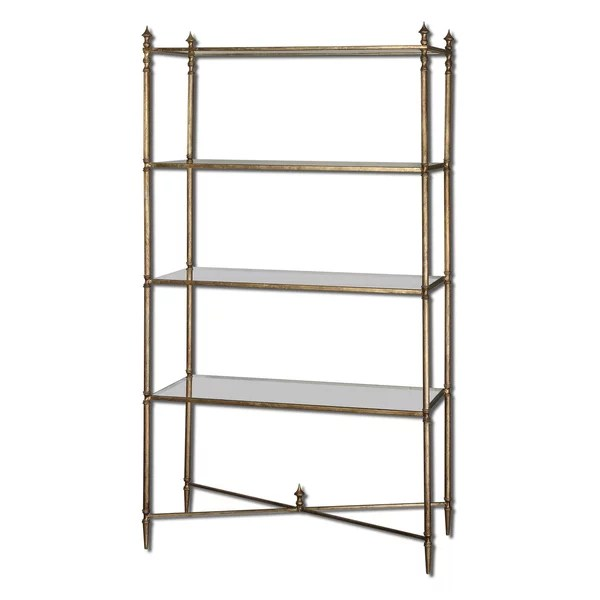 Gold Forged Etagere Frame Gold Leaf Cross Display Shelves Home Decor