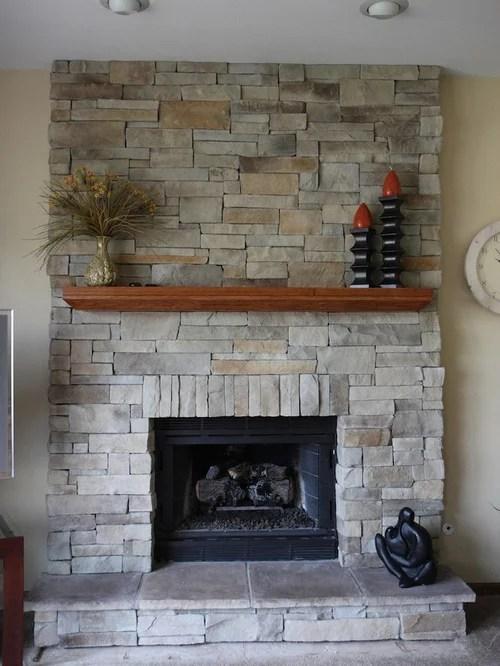 Stone Veneer Fireplace  Houzz
