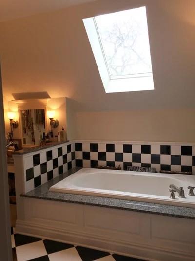 Checkered tile bathroom