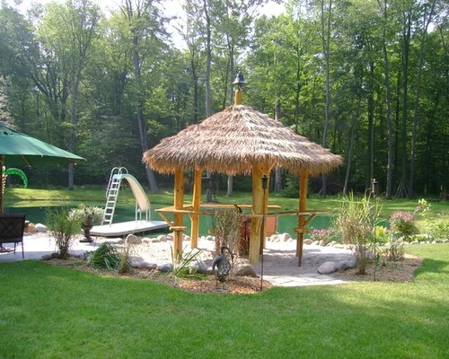 thatched roof tiki bar home design