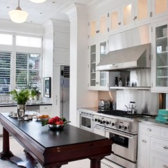 Retro Metal Kitchen Cabinets Aid Pasta White Floor Tiles | Houzz