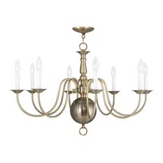 Livex Lighting Inc Williamsburg 8 Light Antique Brass Chandelier Chandeliers