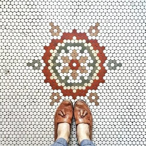 diy hexagon or penny tile floor