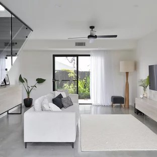 white contemporary living room fireplace designs 75 most popular design ideas for 2019 mid sized in sunshine coast with walls concrete floors and