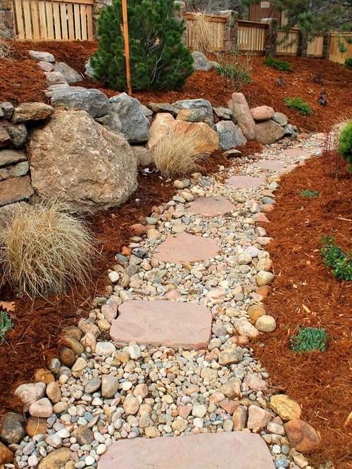 river rock walkway home design