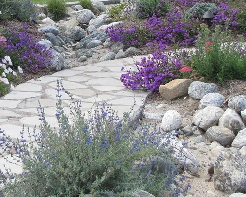 river rock flower beds