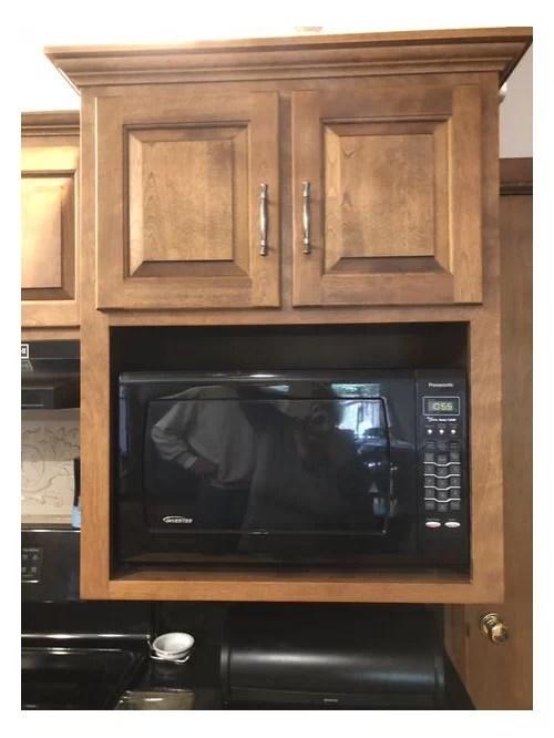 microwave in hanging shelf