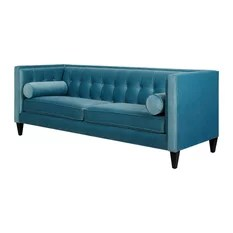 teal sofas jcpenney sofa sleeper 50 most popular turquoise couches for 2019 houzz jennifer taylor home jack tuxedo artic blue