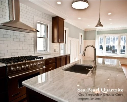 shabby chic kitchen cabinets refinishing sea pearl quartzite home design ideas, pictures, remodel ...
