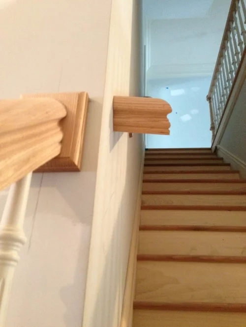 2 Different Style Handrails On 1 Staircase | Continuous Handrail Winder Stair | Recessed | 30 Inch | Basement | Gooseneck | 90 Degree