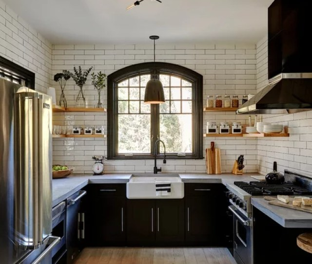 Mid Sized Farmhouse Enclosed Kitchen Ideas Mid Sized Country U Shaped Light