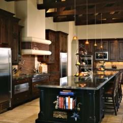 Slate Kitchen Appliances 3 Basin Sink Dark Wood Cabinets | Houzz