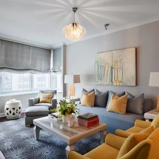 grey yellow living room decorative ottomans gray and houzz inspiration for a mid sized contemporary formal enclosed dark wood floor remodel