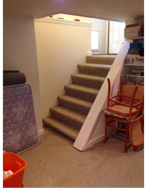 Reconfiguring Basement Stairs W O Adequate Headroom | Basement Stairs In Middle Of Kitchen | Open Plan | Square Shaped | Finished | Galley | Ranch